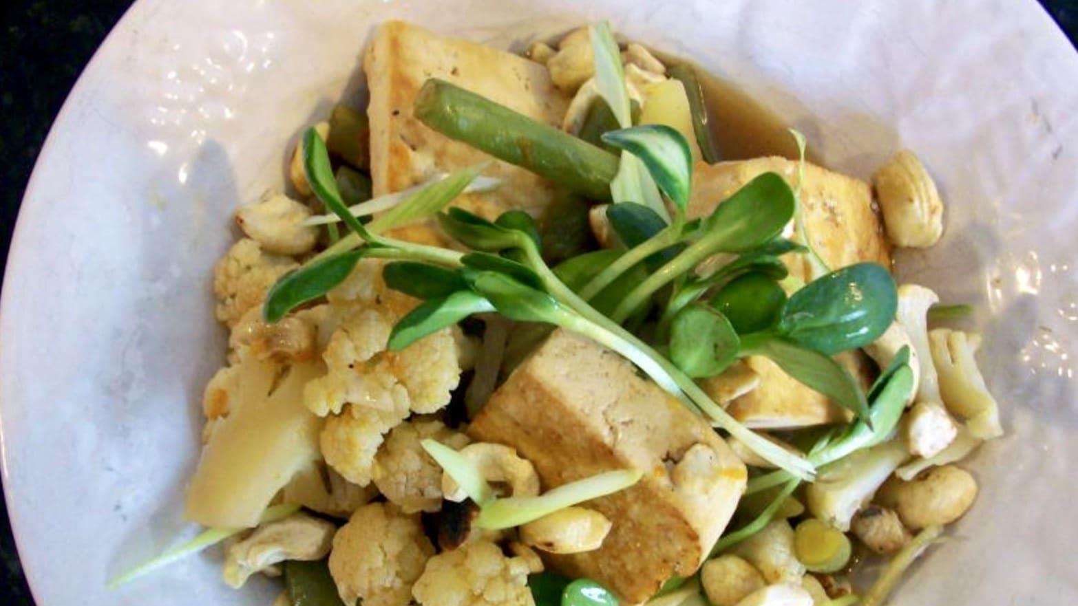 Tofu con Verduras, Naranja y Jengibre - Vegano